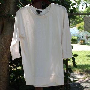 Forever 21 3/4 Sleeve Raglan Tee Cream/Ivory Small